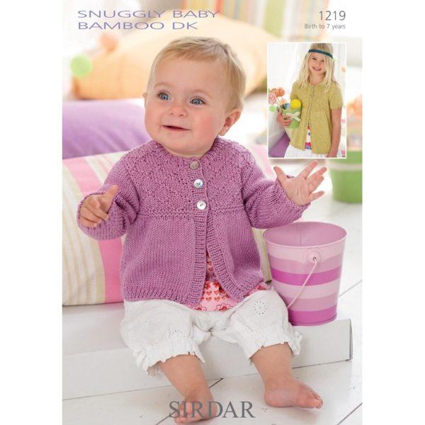 Ζακετάκι με μακρύ και με κοντό μανίκι, με Snuggly Baby Bamboo DK - 1219 | The Knitting Club
