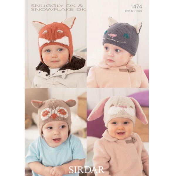 Παιδικά σκουφάκια ζωάκια, με Snuggly DK & Sirdar Snowflake DK - 1474 | The Knitting Club