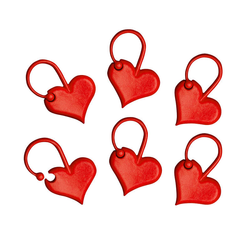 Locking stitch markers addiLove 'hearts'-Addi | The Knitting Club