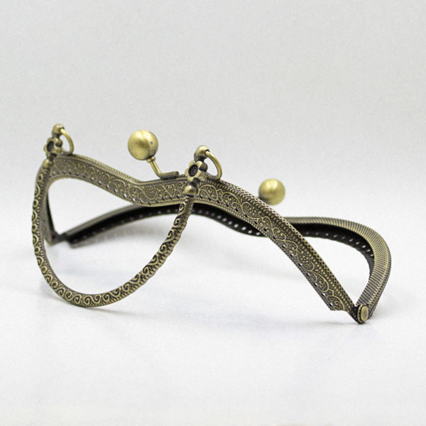 Metal purse frame - Bronze with handle | The Knitting Club