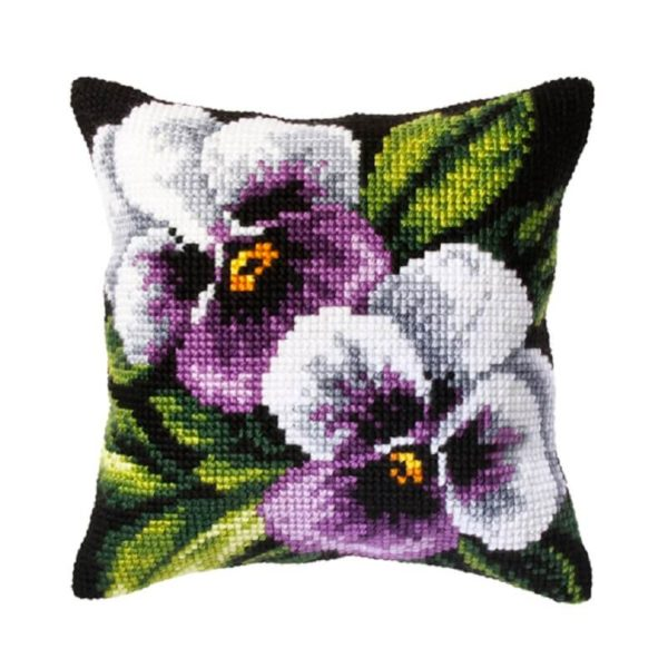 Orchidea Μωβ ορχιδέες (σταυροβελονιά, κιτ 40x40cm τυπωμένος καμβάς) | The Knitting Club