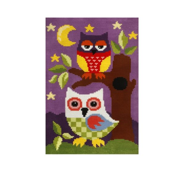 Orchidea Night owls (cross-stitch kit 50x74,5cm printed canvas rug) | The Knitting Club