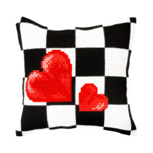 Orchidea 2 hearts checkerboard (cross-stitch kit 40x40cm printed canvas) | The Knitting Club