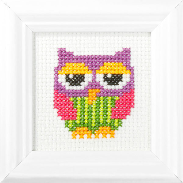Orchidea Owl (counted cross-stitch kit 9x9cm frame) | The Knitting Club