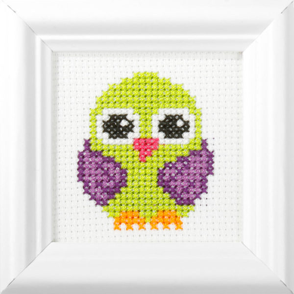Orchidea Bird (counted cross-stitch kit 9x9cm frame) | The Knitting Club