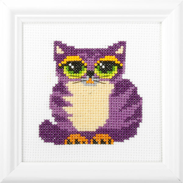 Orchidea Cat (counted cross-stitch kit 13x13cm frame) | The Knitting Club