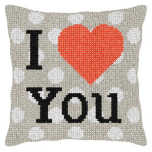Orchidea I love U (cross-stitch kit 40x40cm printed canvas) | The Knitting Club
