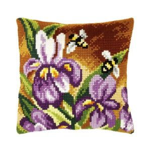Orchidea Bees (cross-stitch kit 40x40cm printed canvas) | The Knitting Club