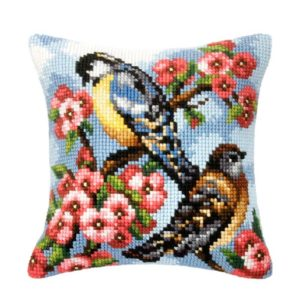 Orchidea Birds on almond tree (cross-stitch kit 40x40cm printed canvas) | The Knitting Club