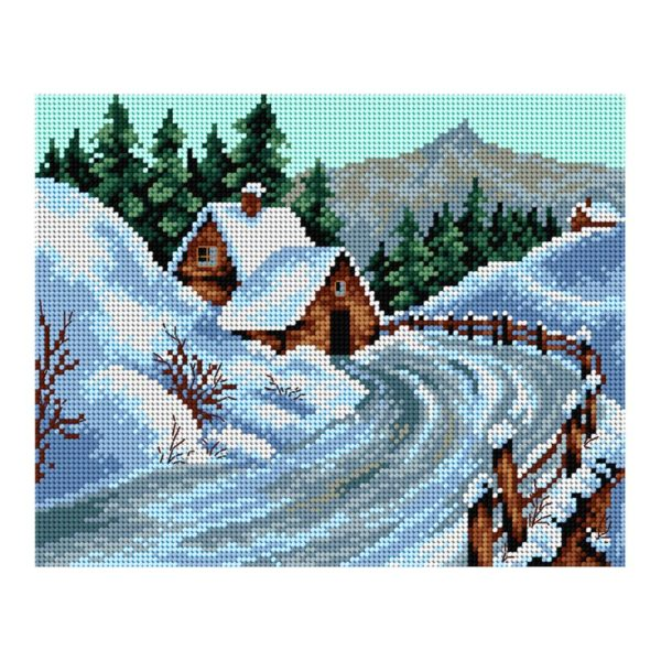 Orchidea Winter landscape (printed gobelin canvas 24x30cm) | The Knitting Club