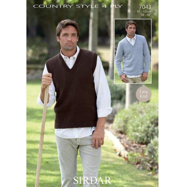 Ανδρικό πουλόβερ & καζάκα με V, με Sirdar Country Style 4ply - 7043 | The Knitting Club
