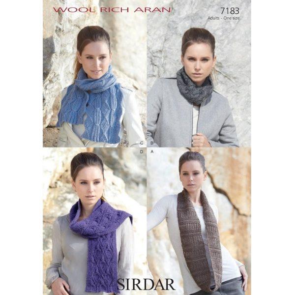 Γυναικεία κασκόλ και λαιμοί, με Sirdar Wool Rich Aran - 7183   The Knitting Club
