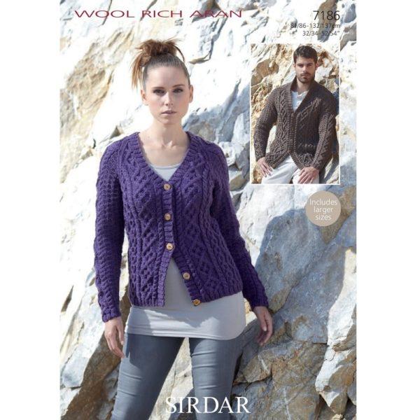 Ζακέτες (γυνακεία και ανδρική) με Sirdar Wool Rich Aran - 7186 | The Knitting Club