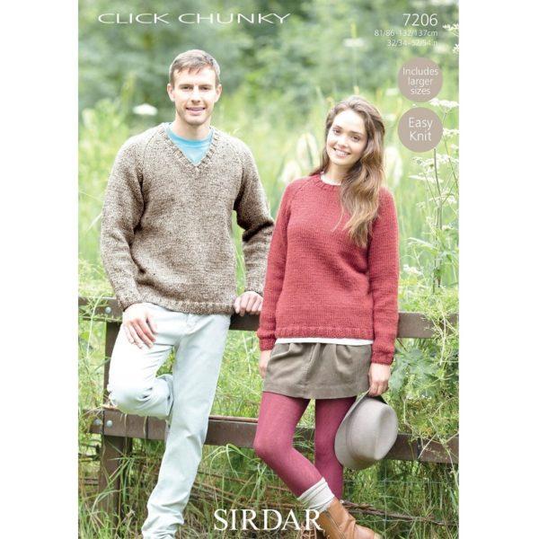 Ανδρικό & γυναικείο πουλόβερ, με Sirdar Click Chunky - 7206 | The Knitting Club
