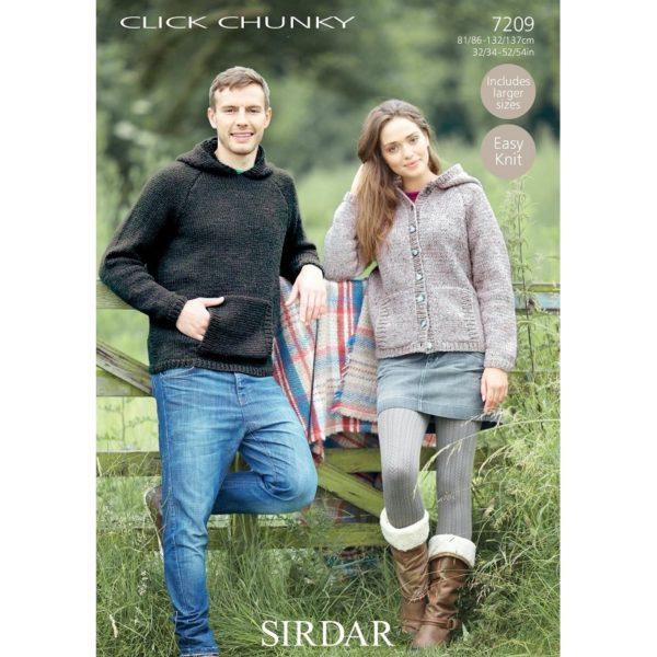 Γυναικεία ζακέτα & ανδρικό πουλόβερ, με Sirdar Click Chunky - 7209   The Knitting Club