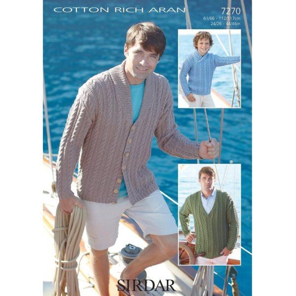 Πουλόβερ και ζακέτα, με Sirdar Cotton Rich Aran - 7270 | The Knitting Club