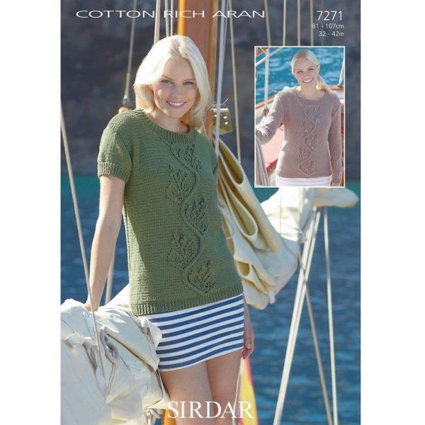 Μπλουζάκι με μακρύ και με κοντό μανίκι με Sirdar Cotton Rich Aran - 7271 | The Knitting Club