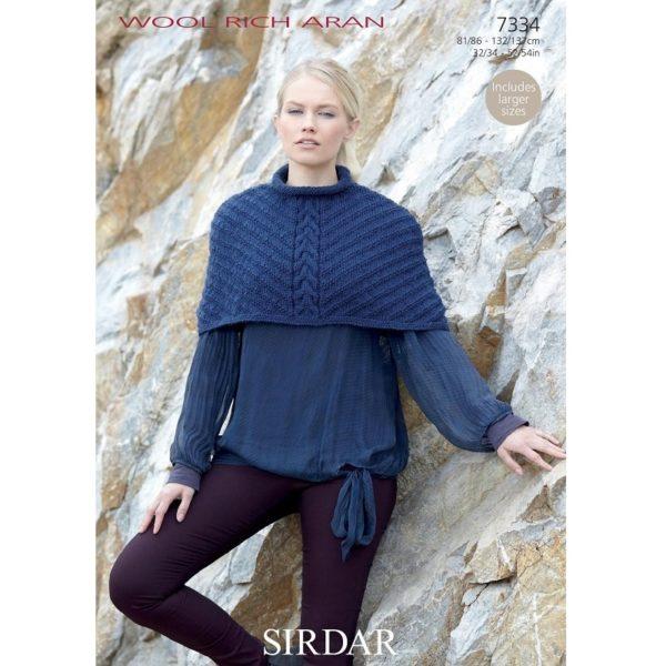 Γυναικεία κάπα, με Sirdar Wool Rich Aran - 7334 | The Knitting Club