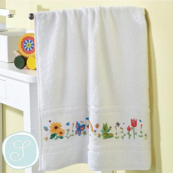 Simy's studio - Κιτ κεντήματος λουλουδάκια - πετσέτα 50x100cm, λευκή | The Knitting Club