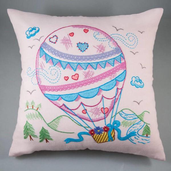 Simy's studio - Κιτ κεντήματος αερόστατο - μαξιλαροθήκη 40x40cm, ροζ | The Knitting Club