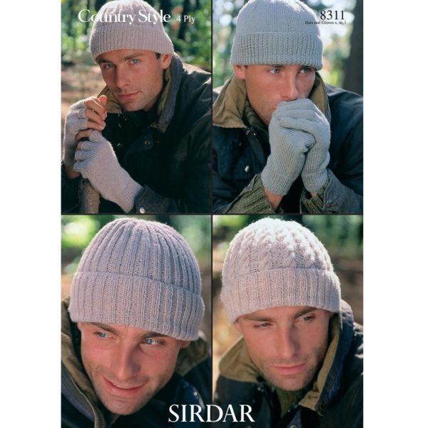Ανδρικά σκουφιά και γάντια, με Sirdar Country Style 4ply - 8311 | The Knitting Club
